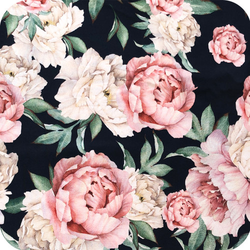 Peonies Black 100% Cotton