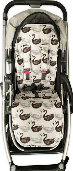 Swans Black & White Cotton Pram Liner set to fit Uppababy (harness strap covers optional)