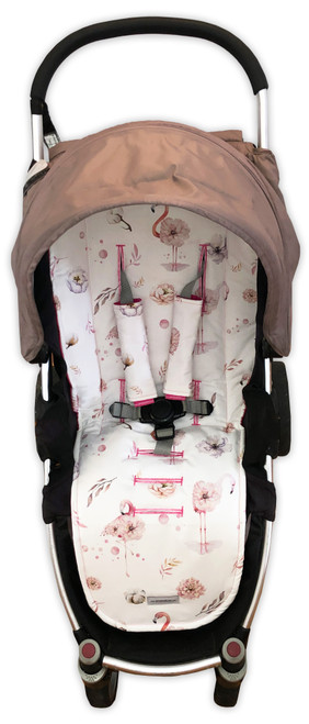 Flamingo Floral Pink Universal Fit Cotton Pram Liner - new print