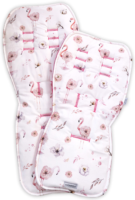Flamingo Floral Pink Cotton Main & Rumble Seat Pram Liners for Uppababy ($59.95 each)