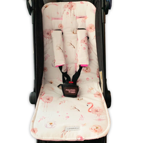 Flamingo Floral Pink Cotton Pram Liner to fit Mountain Buggy Nano