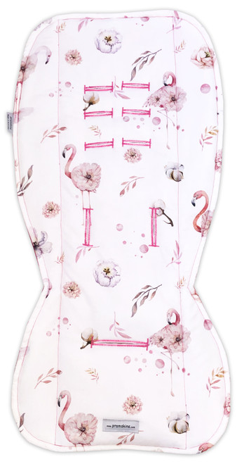 Flamingo Floral Pink Cotton Pram Liner to fit Stokke  Xplory, Crusi and Scoot