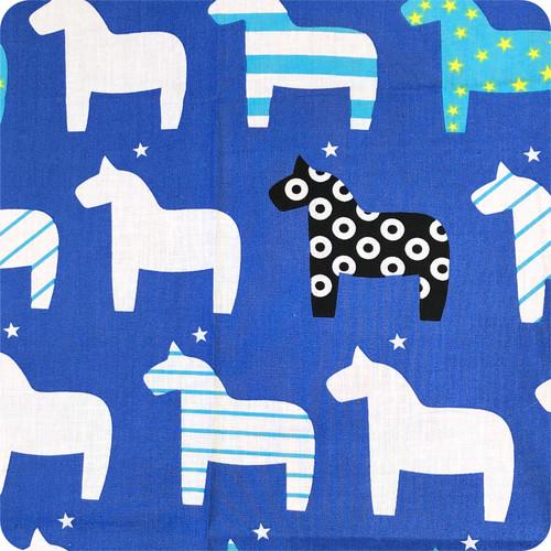Nordic Horse Blue 100% Cotton