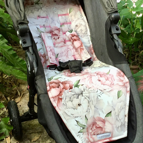 Peonies Cotton Pram Liner to fit Baby Jogger City Mini GT