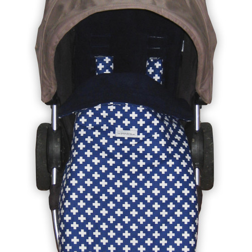 Crosses White on Navy Snuggle Bag to fit Baby Jogger Summit xc/x3