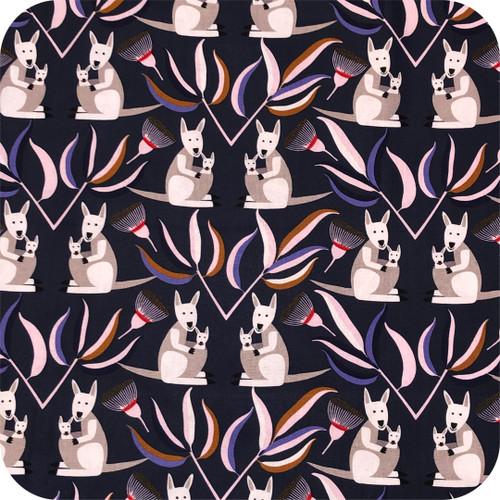 Kangaroo Print Navy 100% cotton