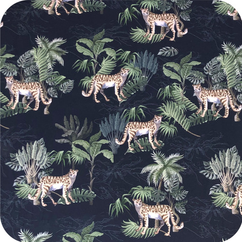 Leopard Black 100% Cotton