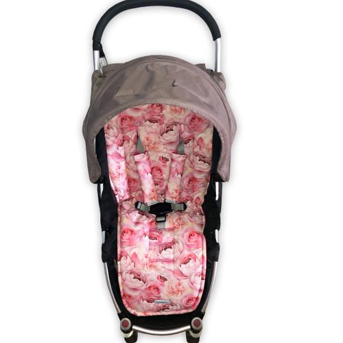 Roses & Peonies Pink Universal Fit Cotton Pram Liner