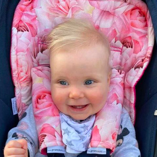 Roses & Peonies Cotton Pram Liner for Uppababy