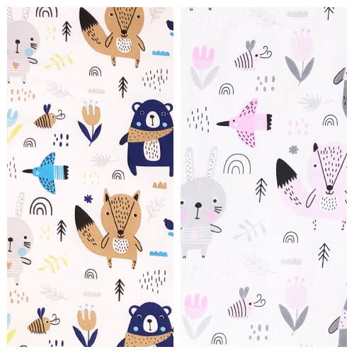 Scandi Woodland Navy & Pink print 100% cotton