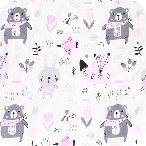 Scandi Woodland Pink 100% cotton