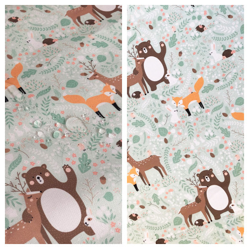 Frest Friends print 100% cotton on one side reversing to matching print in waterproof finish