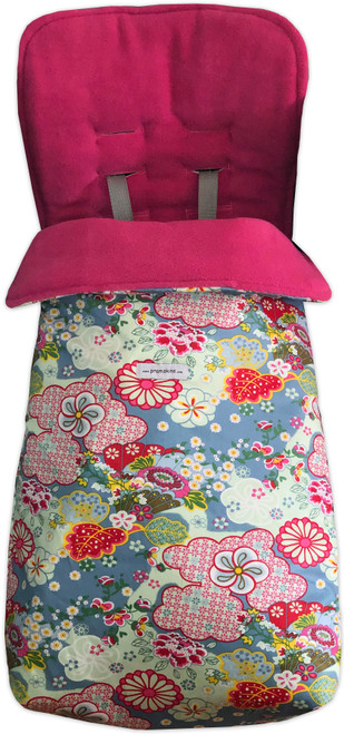Kimono Blossom Blue Snuggle bag to fit Mountain Buggy