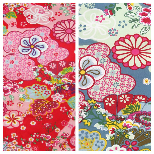 Kimono Blossom Blue & Red Cotton Pram Liner Set to fit BJCMGT Double