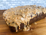 Gluten-Free Banana Bread with Just Judine Chocolate Granola and Peanut Butter.