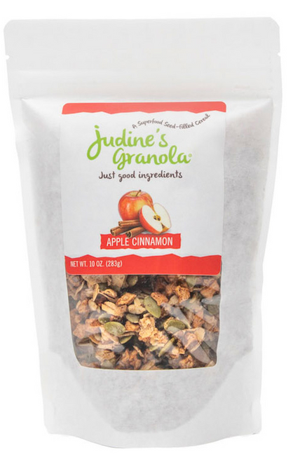 Just Judine - Healthy Whole Grain Granola with Coconut Flakes and Plant-Based Superfoods, Non-GMO, Gluten-Free, Vegan, Apple Cinnamon, 10 oz