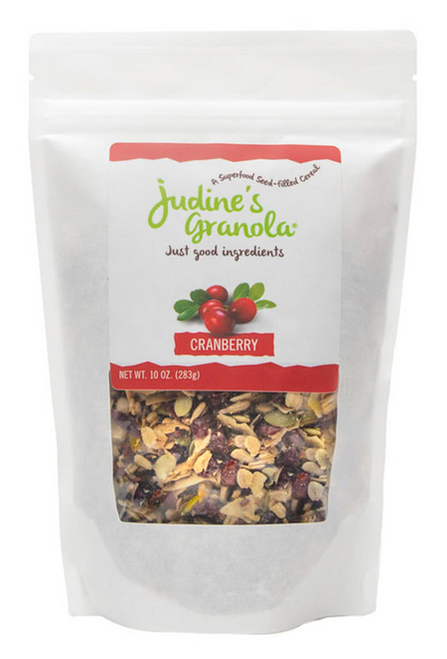 Just Judine - Healthy Whole Grain Granola with Coconut Flakes and Plant-Based Superfoods, Non-GMO, Gluten-Free, Vegan, Cranberry, 10 oz