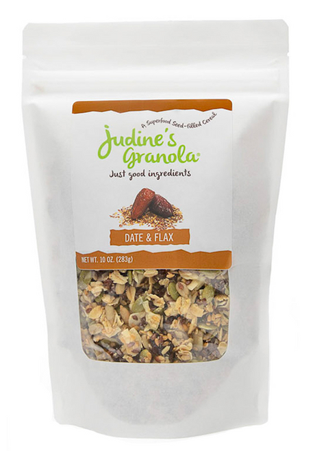 Just Judine - Healthy Whole Grain Granola with Coconut Flakes and Plant-Based Superfoods, Non-GMO, Gluten-Free, Vegan, Date and Flax, 10 oz