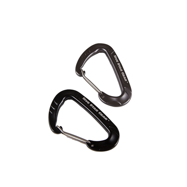 5IVE STAR GEAR 690104431239 5IVE STAR-CARABINERS, 2-PACK WIREGATE, BLK/GREY