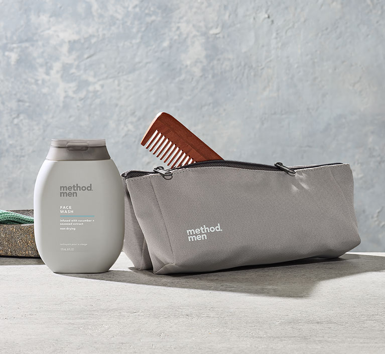 Dopp kit with face wash and comb