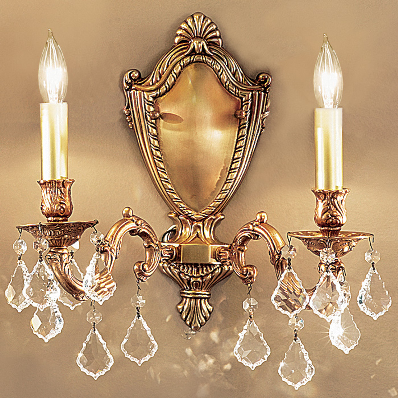 Image of: Classic Lighting 57372 Fg Cbk Chateau Crystal Wall Sconce In French Gold Imported From Spain At Clw Lighting