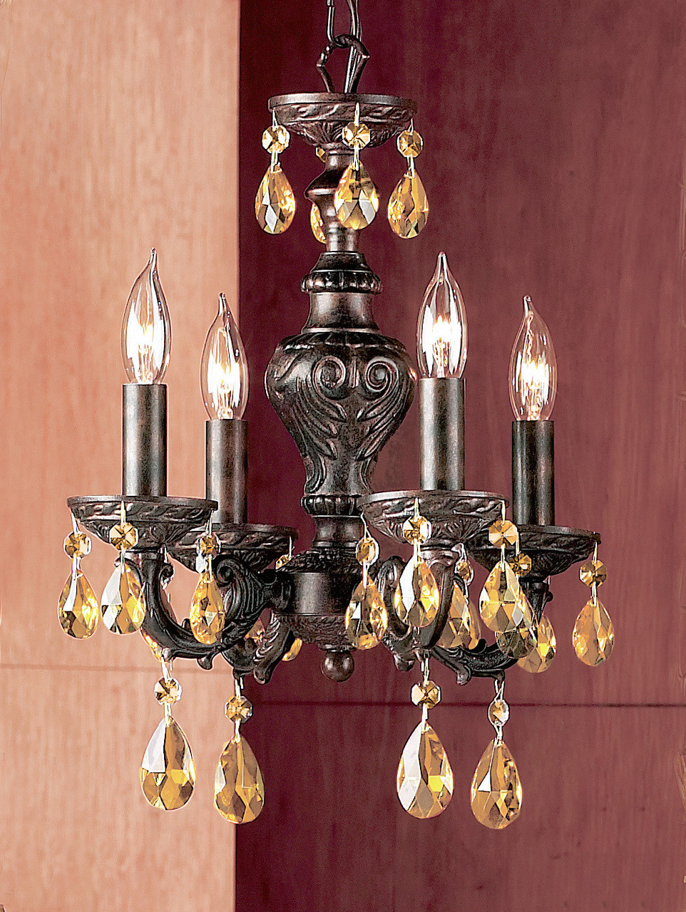 Classic Lighting 8334 Eb Pam Gabrielle Crystal Mini Chandelier In English Bronze At Clw Lighting
