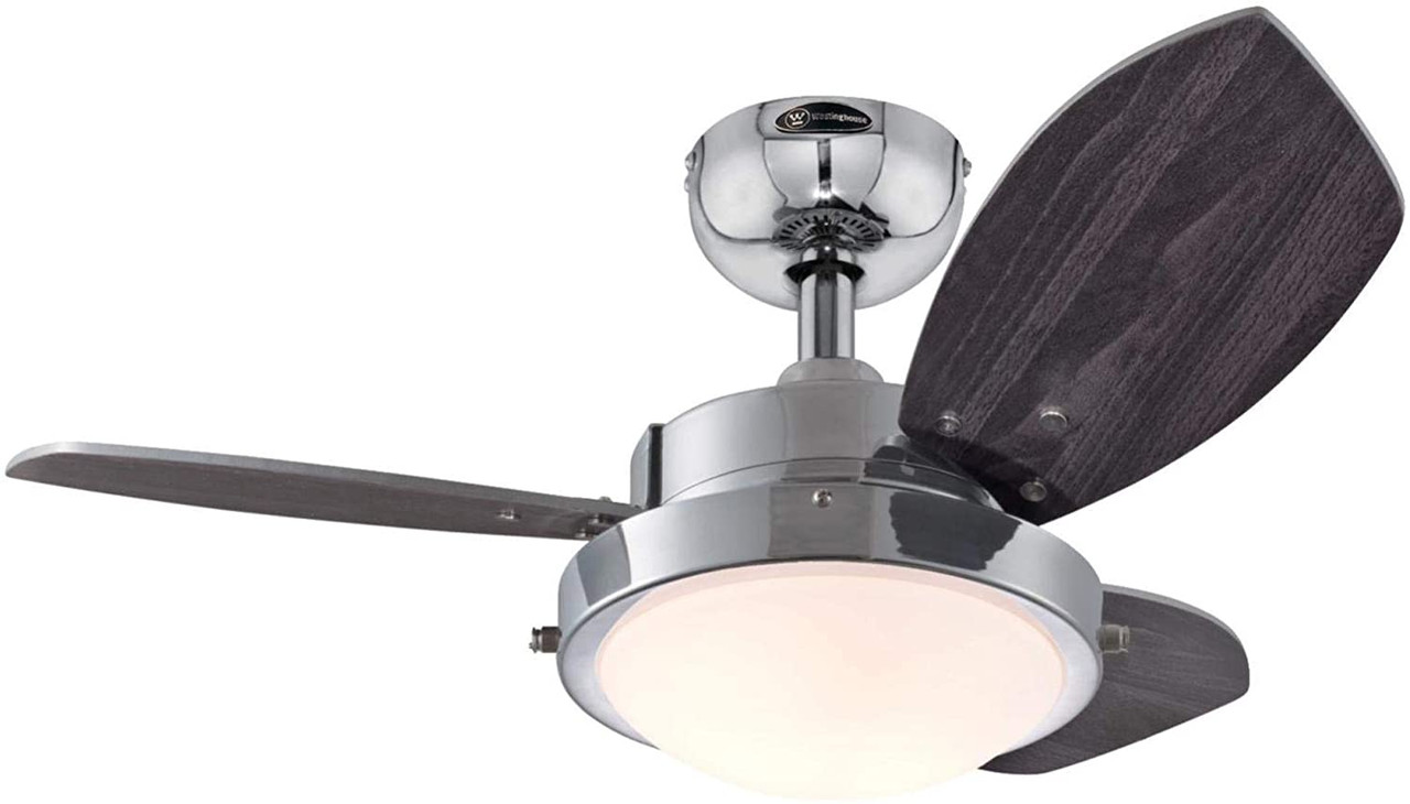 Westinghouse Lighting 7224100 Wengue 30 Inch Indoor Ceiling Fan With Dimmable Led Light Fixture Chrome Finish With Reversible Wengue Beech Blades Opal Frosted Glass At Clw Lighting