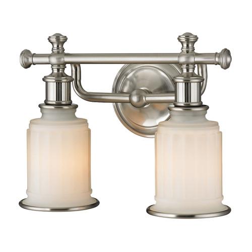 ELK Lighting 52001/2 Acadia 2-Light Vanity Lamp in Brushed Nickel with Opal Reeded Pressed Glass
