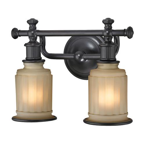 ELK Lighting 52011/2 Acadia 2-Light Vanity Lamp in Oiled Bronze with Opal Reeded Pressed Glass