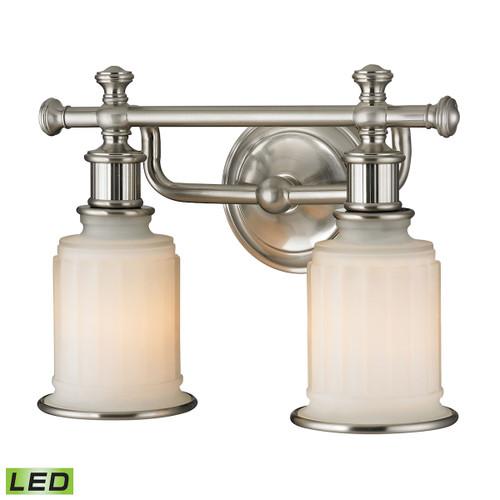 ELK Lighting 52001/2-LED Acadia 2-Light Vanity Lamp in Brushed Nickel with Opal Reeded Pressed Glass - Includes LED Bulbs