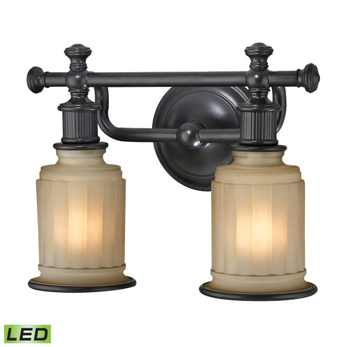 ELK Lighting 52011/2-LED Acadia 2-Light Vanity Lamp in Oiled Bronze with Opal Reeded Pressed Glass - Includes LED Bulbs