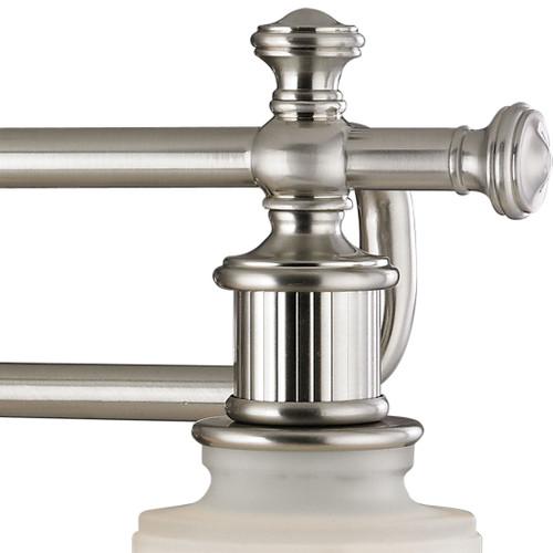 ELK Lighting 52002/3 Acadia 3-Light Vanity Lamp in Brushed Nickel with Opal Reeded Pressed Glass
