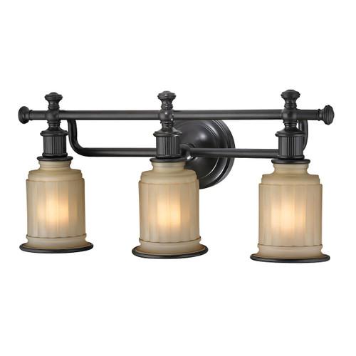 ELK Lighting 52012/3 Acadia 3-Light Vanity Lamp in Oiled Bronze with Opal Reeded Pressed Glass