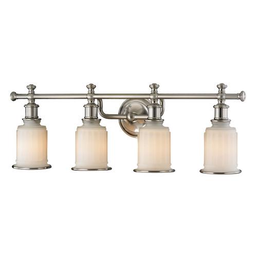 ELK Lighting 52003/4 Acadia 4-Light Vanity Lamp in Brushed Nickel with Opal Reeded Pressed Glass