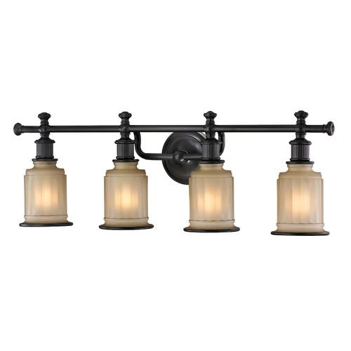 ELK Lighting 52013/4 Acadia 4-Light Vanity Lamp in Oiled Bronze with Opal Reeded Pressed Glass