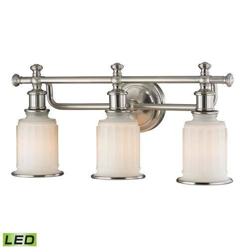ELK Lighting 52002/3-LED Acadia 3-Light Vanity Lamp in Brushed Nickel with Opal Reeded Pressed Glass - Includes LED Bulbs