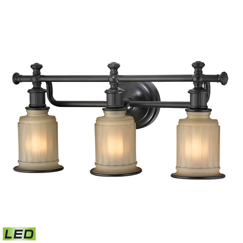 ELK Lighting 52012/3-LED Acadia 3-Light Vanity Lamp in Oiled Bronze with Opal Reeded Pressed Glass - Includes LED Bulbs