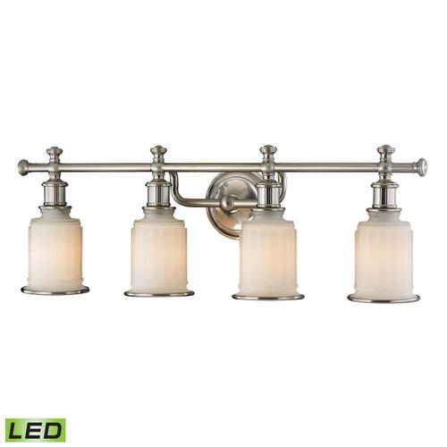 ELK Lighting 52003/4-LED Acadia 4-Light Vanity Lamp in Brushed Nickel with Opal Reeded Pressed Glass - Includes LED Bulbs