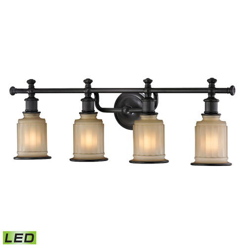 ELK Lighting 52013/4-LED Acadia 4-Light Vanity Lamp in Oiled Bronze with Opal Reeded Pressed Glass - Includes LED Bulbs