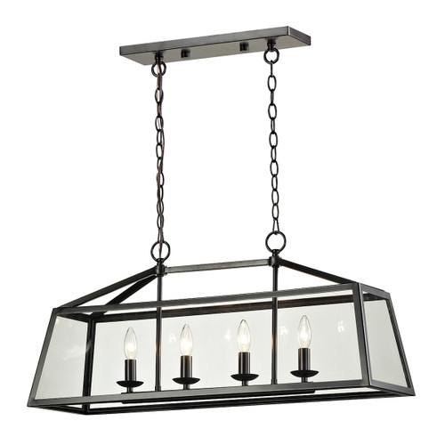 ELK Lighting 31508/4 Alanna 4-Light Linear Chandelier in Oil Rubbed Bronze with Clear Glass Panels
