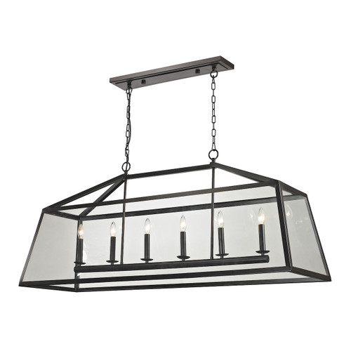 ELK Lighting 31509/6 Alanna 6-Light Linear Chandelier in Oil Rubbed Bronze with Clear Glass Panels