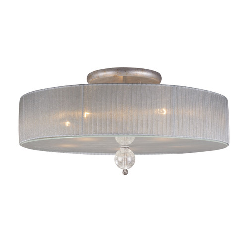 ELK Lighting 20006/5 Alexis 5-Light Semi Flush in Antique Silver with Translucent Silver Fabric Shade