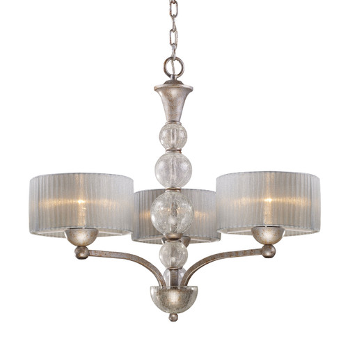 ELK Lighting 20008/3 Alexis 3-Light Chandelier in Antique Silver with Translucent Silver Fabric Shade