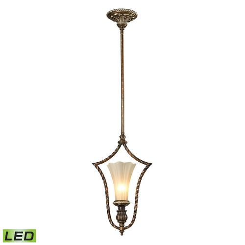 ELK Lighting 11554-1-LED Allesandria 1 Light Mini Pendant in Burnt Bronze with Weathered Gold Leaf (LED)