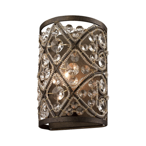 ELK Lighting 11584/1 Amherst 1-Light Vanity Sconce in Antique Bronze with Clear Crystal and Beaded Glass Diffuser