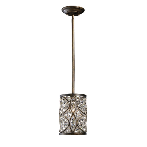ELK Lighting 11285/1 Amherst 1-Light Mini Pendant in Antique Bronze with Clear Crystal and Beaded Glass Diffuser