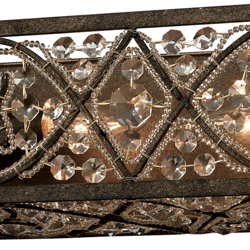 ELK Lighting 11586/4 Amherst 4-Light Vanity Sconce in Antique Bronze with Clear Crystal and Beaded Glass Diffuser