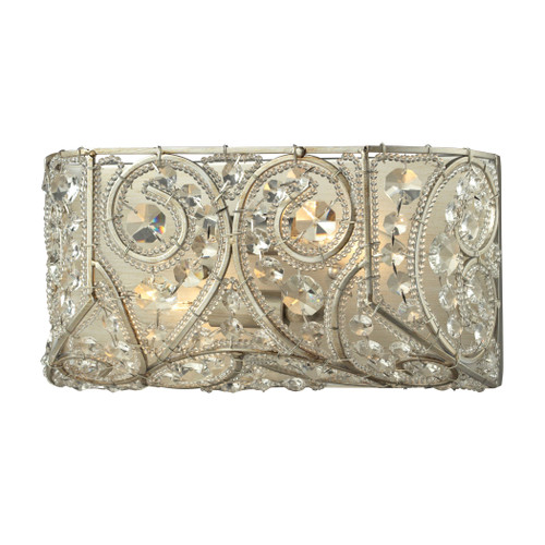 ELK Lighting 11690/2 Andalusia 2-Light Vanity Sconce in Aged Silver with Clear Crystal and Beaded Glass Diffuser
