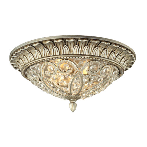 ELK Lighting 11693/2 Andalusia 2-Light Flush Mount in Aged Silver with Clear Crystal and Beaded Glass Diffuser