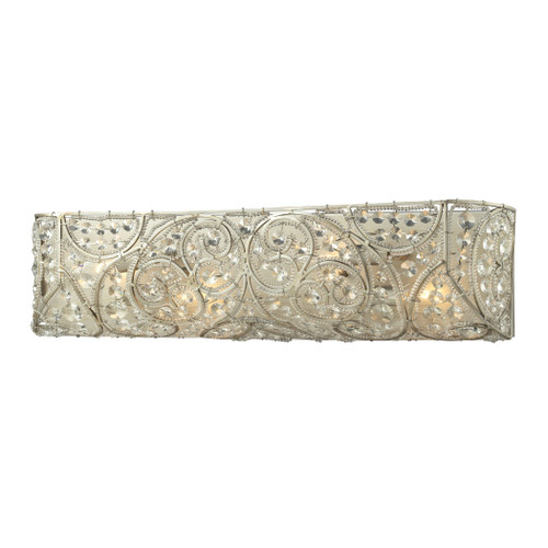 ELK Lighting 11691/4 Andalusia 4-Light Vanity Sconce in Aged Silver with Clear Crystal and Beaded Glass Diffuser